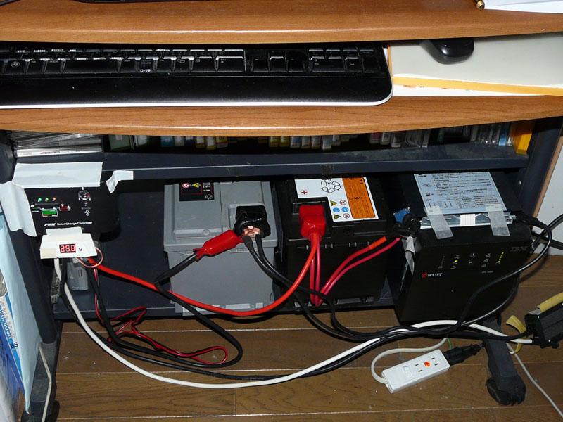 チャージコントローラーのLOAD端子へ電圧計とともに配線